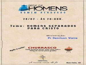 Culto Rede Homens c/ Churrasco
